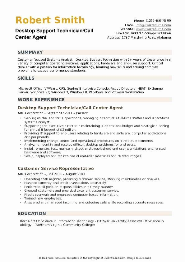 Computer Technician Resume Objective New Desktop Support Technician Resume Samples Resume Objective Desktop Support Technician