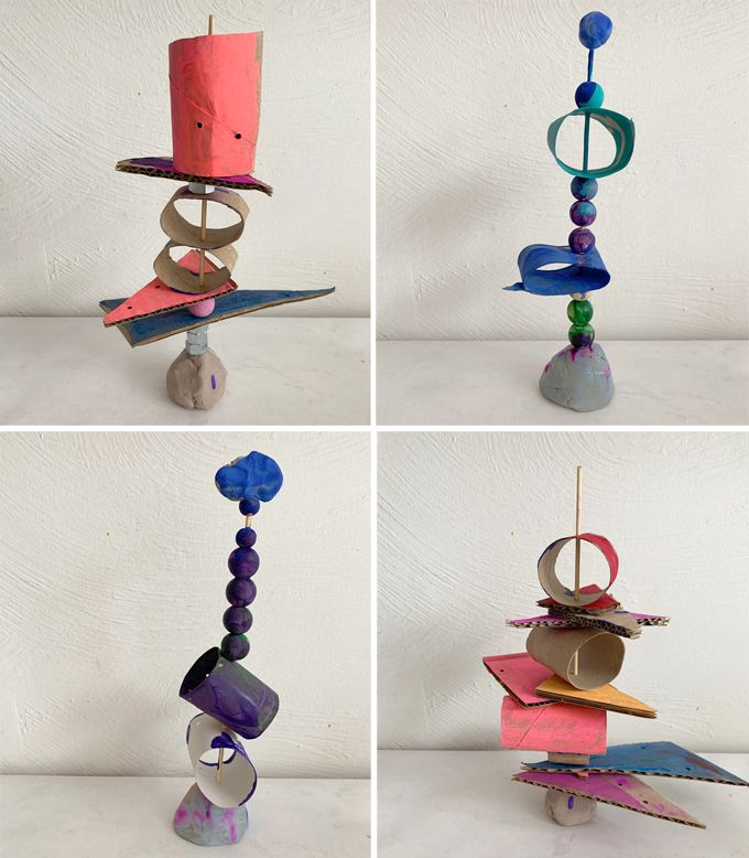 Stacked Cardboard Sculptures with Kids