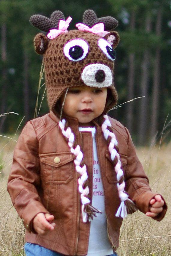 Filles Hat, chapeau au Crochet, Deer Hat, chapeau de Rennes, chapeau crocheté Deer Girl avec cache-oreilles et tresses bébé, bambin, enfant, adolescents tailles on Etsy, 23,44€