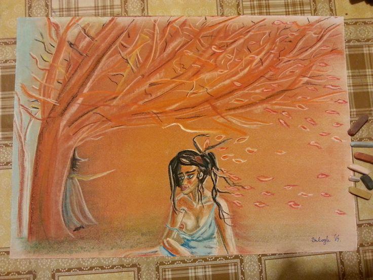 Elfújta a szél. Pasztell A4 Papír. Artist: Balogh Krisztina