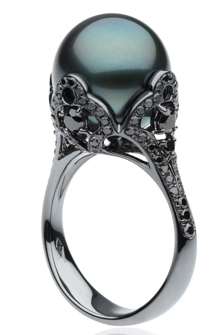 Black Pearl Ring With Black Diamonds Gorgeous!