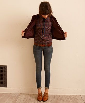 Skinny jeans showing ankles + light brown oxfords + slim plaid shirt + casual jacket of some kind I would roll my jeans up and would either do my high waist black jeans or my low rise blue jeans (which need a belt).