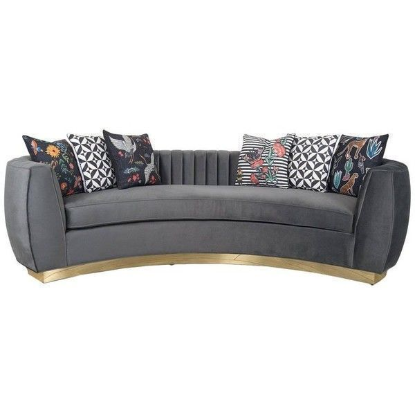 Modern Art Deco Style Sofa And Long-arm Tufting Charcoal Velvet & Gold... ($3,895) ❤ liked on Polyvore featuring home, furniture, sofas, black, tufted couches, dark grey sofa, velvet tufted couch, black tufted couch and black tufted sofa #artdecofurniture