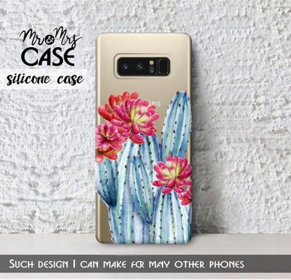 Samsung A7 2018 Samsung A5 2018 Clear Blue Cactus Case Galaxy Etsy In 2021 Cactus Case Case Blue Cactus