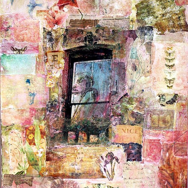 """Window in Venice"" Mixed media with one of my photographs, acrylic colors and photo transfer Artist: Ifigenia Christodoulidou  #mixedmedia #mixedmediaart #mixedmediacollage #ifigenia #ifigeniaart #ifigeniaphotography #texture #wallart #phototransfer #acrylicpainting"