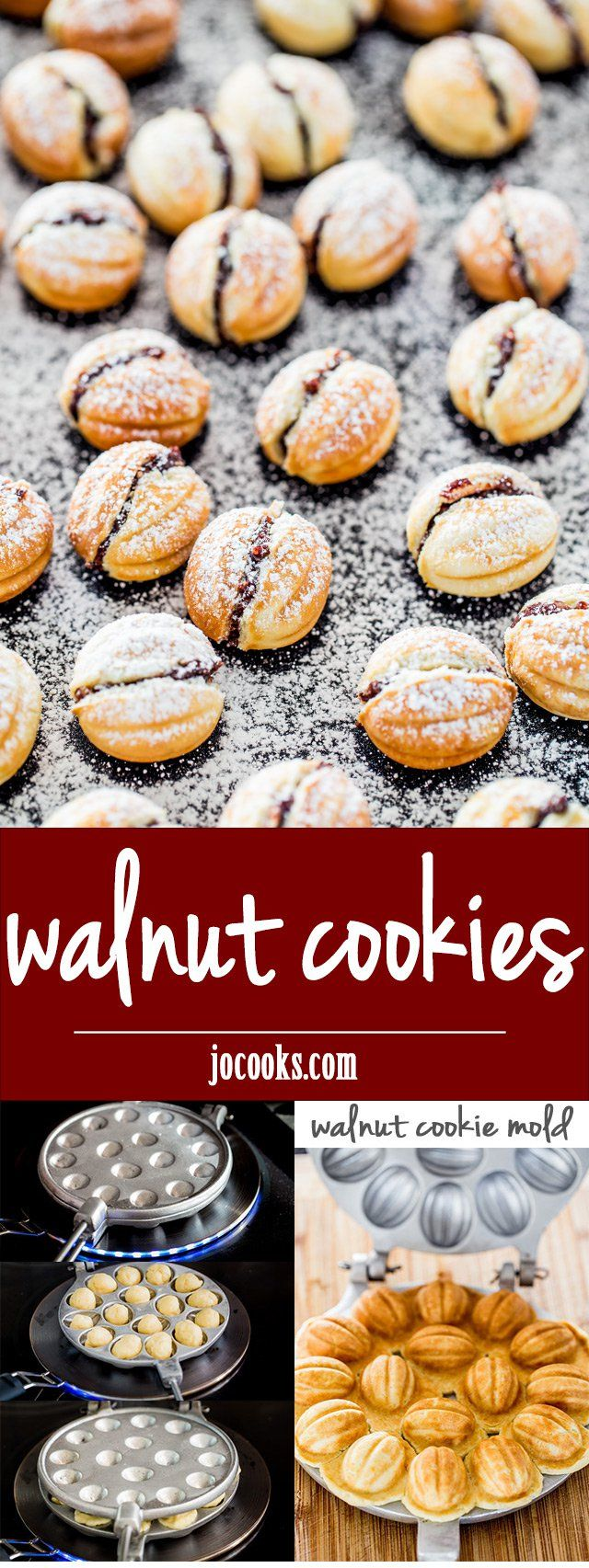 Walnut Cookies - walnut shaped cookies filled with a delicious walnut and Nutella filling. Festive, delicious and so adorable.