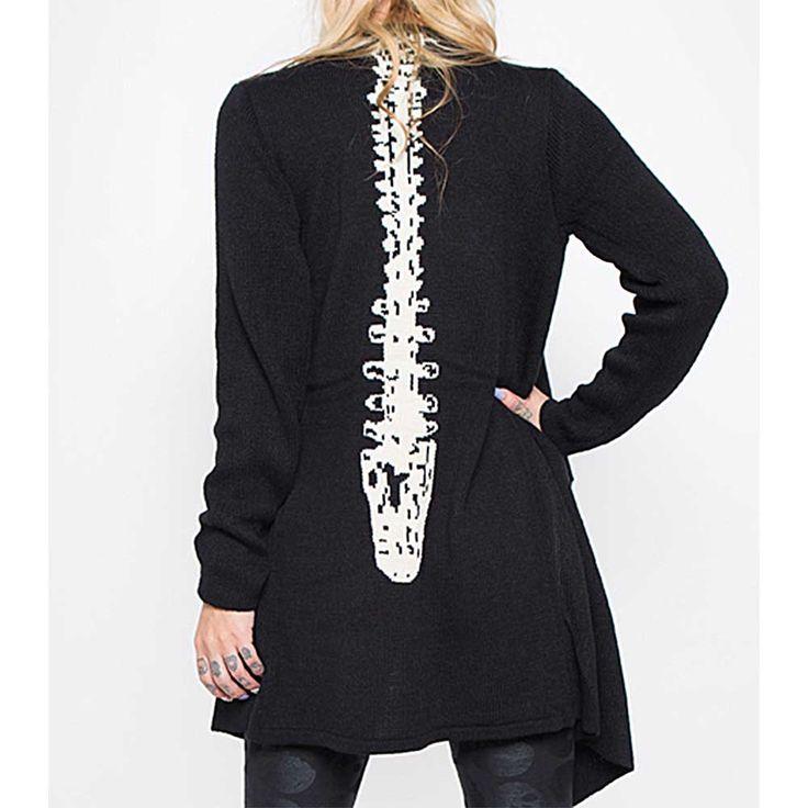 Spineless cardigan vest met ruggengraat print zwart