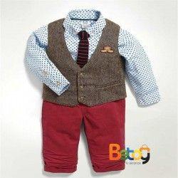 Conjunto para niño, chaleco, corbata y pantalon rojo