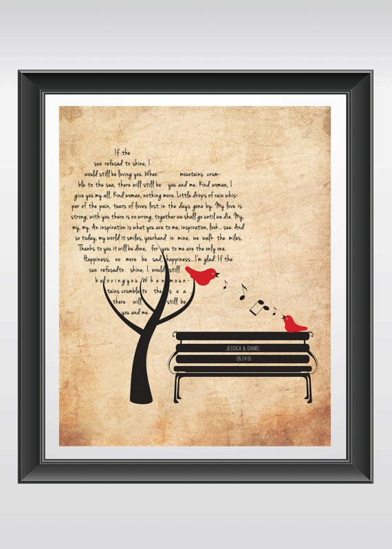 This unique wedding song print gift with wedding date & names - printable file is customized with your wedding song/first dance lyrics inside the shape of a heart with names engraved on the bench. This makes a unique anniversary or wedding gift. It comes as a printable pdf. file to save you time and shipping costs! Once you recieve your files, just download, print, frame and decorate your home with this wedding day keepsake!  Note: This is a print ready PDF file delivered via email with your…