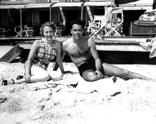 Henry Fonda with his 2nd wife Frances, mother of Jane and Peter.  His 1st marriage (1931-32) was to Margaret Sullavan. He was reported to be emotionally distant  and loathed displays of feelings in himself and others. He was married 5 times.