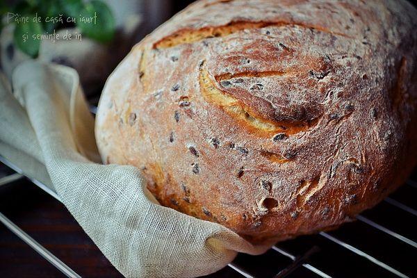 Pâine de casă cu iaurt şi seminţe de in