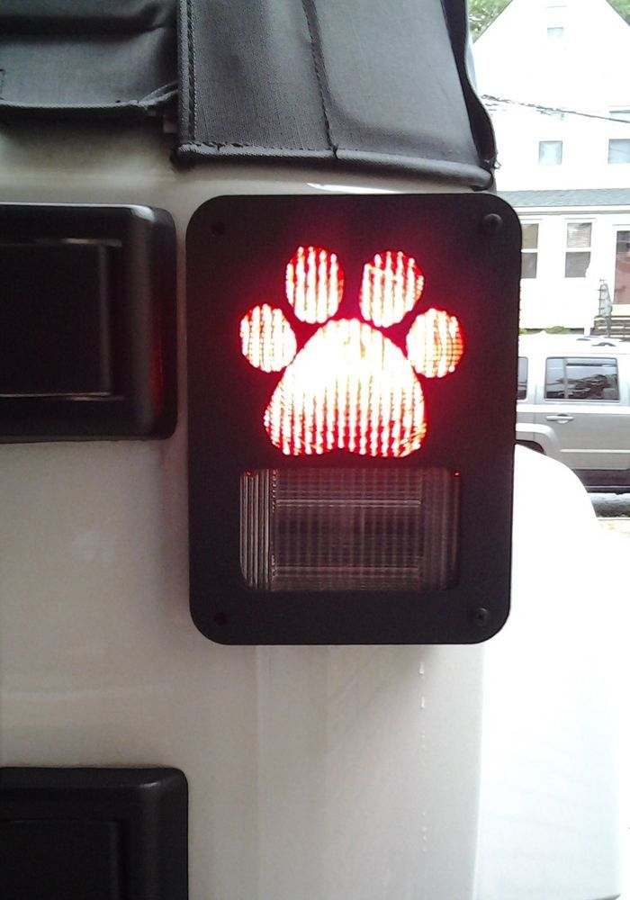 JEEP WRANGLER JK DECORATIVE DOG PAW METAL TAIL LIGHT COVERS GUARDS