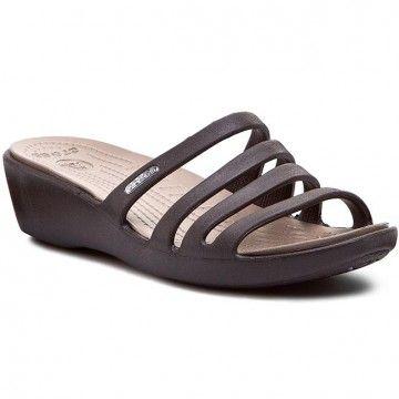 Nazouváky CROCS - Rhonda Wedge Sandal W 14706 Espresso/Mushroom
