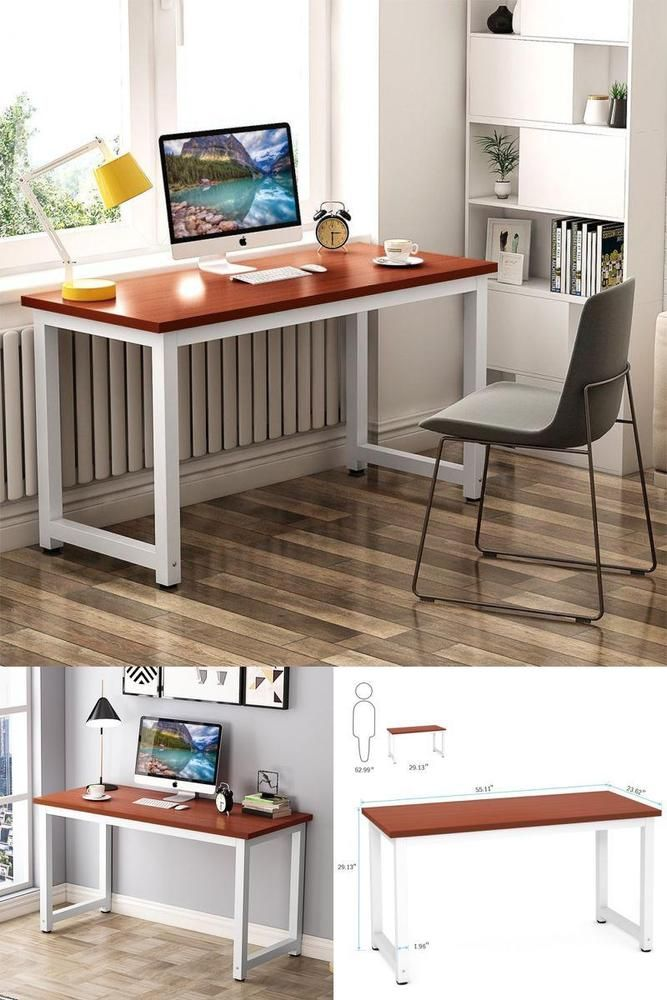 Fyi Simple Home Office Desk Study Writing Laptop Wood Metal