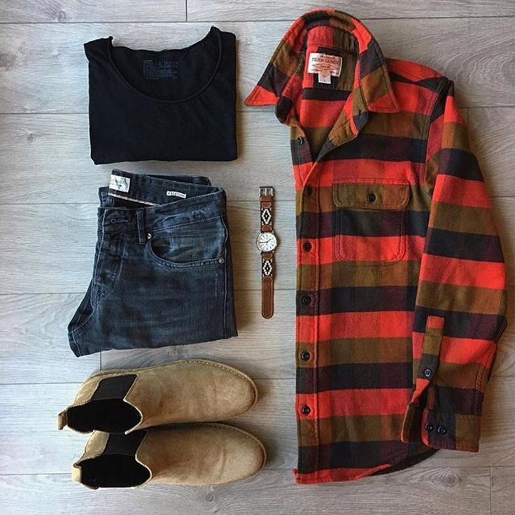 #mensstyleblog @wardrobeweary:Getting in touch with my #flannel side #club1989 Flannel / #filson1897 #ruggedstyle #mensboots #mensjeans #mensapparel Relaxed #CrewTee / #breadandboxers #RalstonDenim / #scotch_official Watch + Band / #timex x #la_matera #ChelseaBoots / #asos @mallenpics