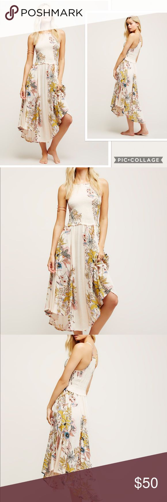 """NWT Free People Season In The Sun Maxi Dress Style No. 40256547 ; Color Code:  Effortless printed midi slip featuring a high neckline and racerback detail. Smocked bodice and breezy skirt make for an easy fit and flowing silhouette. Exposed seam detail creates a lived-in look. Semi-sheer bottom.  Care/Import #121  Hand Wash Cold Separately  Import  Measurements for size Large  Bust: 30""""  Waist: 28""""  Length: 44.75 in Contents  30% Silk 70% Cotton Free People Dresses Maxi"""