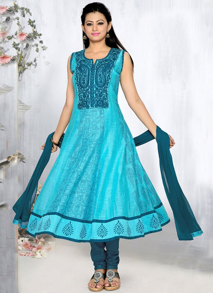Blue Chanderi Plus Size Anarkali