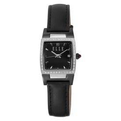 This popular ELLE watch is preferred by business and professional women that need a watch for the office but require some bling for the evening. This smaller watch is made of stainless steel, has a black rectangular dial with a date window and is embellished with a discreet selection of Swarovski Chrystals. This is a great watch for daytime or evening wear. Plan on getting compliments on this watch.