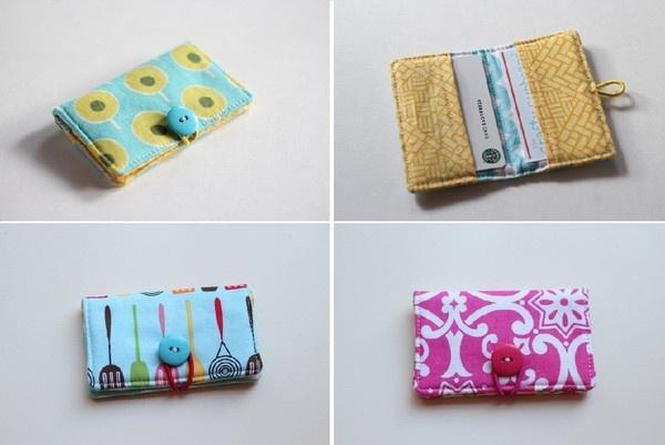 Auto costura lindo monedero tarjeta a mano 8