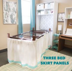 Bed Skirt Panel - White with Navy Ribbon