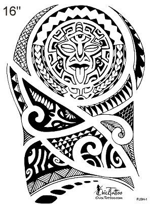 Cool Polynesian Style 1/2 Sleeve Flash Design.: