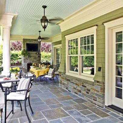 Covered Patio/ I love this green on the house I would love to paint my bricks this color