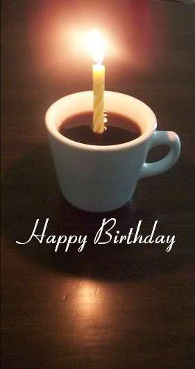 happy birthday with cup of coffee | January 6th 2015; Daddy and Ann!