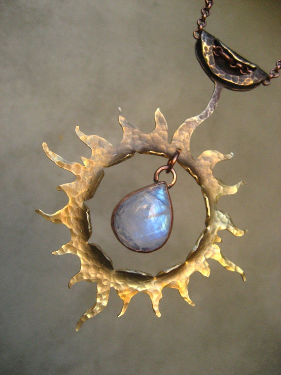 Golden Sun Talisman with Rainbow Moonstone by SilviasCreations