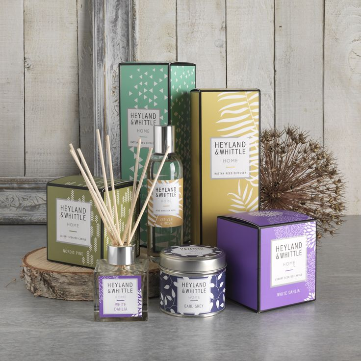 HOME Range - A contemporary collection of new fresh 'on trend' fragrances for the home. Reed diffusers and natural soy candles pack a big punch in their bright bold packaging.
