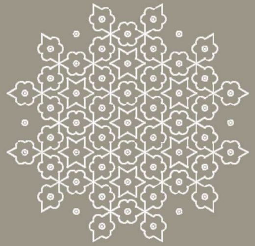 A Kolam Pattern where dots are connected with straight and curved lines