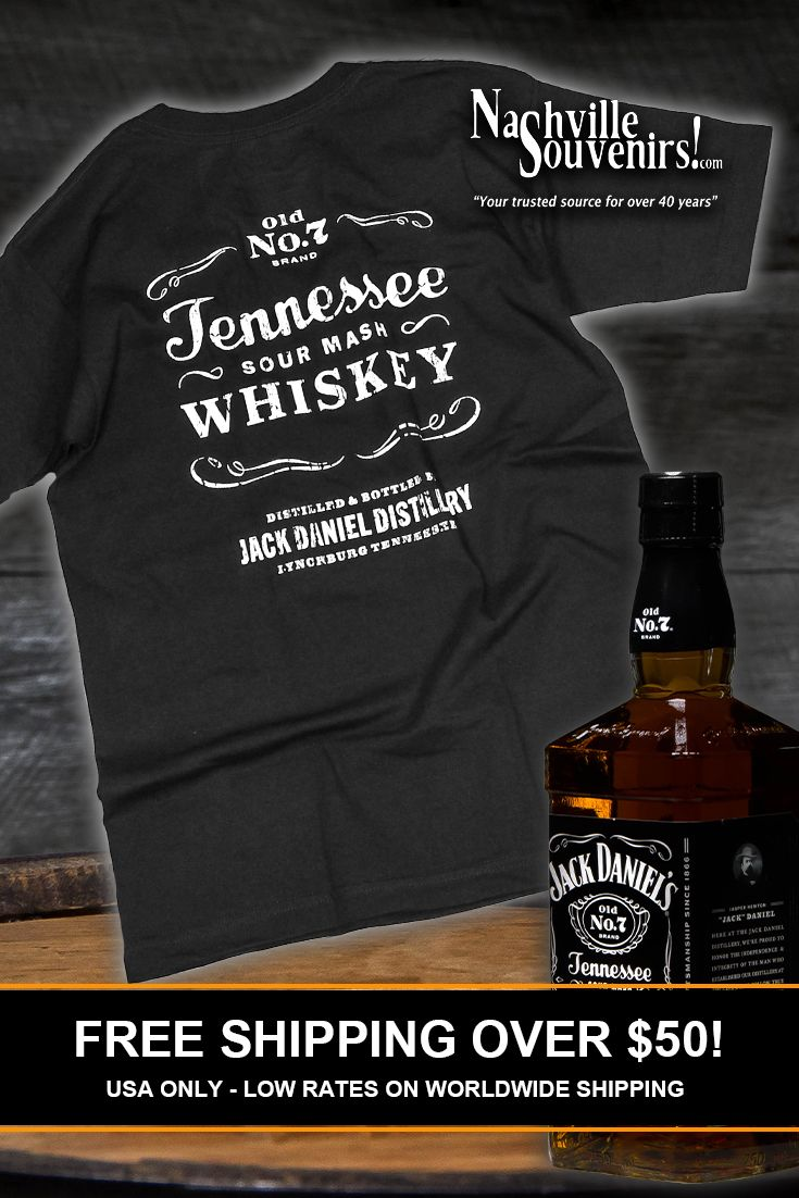 3e5d9d02e Officially licensed Jack Daniels Tennessee Sour Mash Whiskey T-Shirt with  small front Jack Daniels