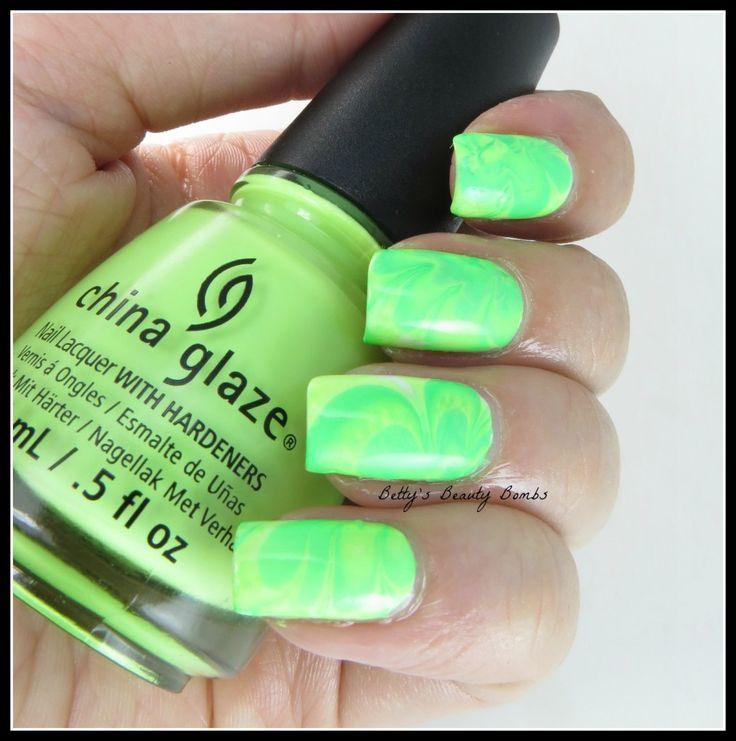 Watermarble Nail Art - Neon Green! - Betty's Beauty Bombs #HePicksMyPolish July Challenge #nailart