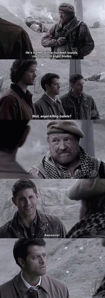 Supernatural S12E23 Dean , Bobby and the way Castiel looks at him !