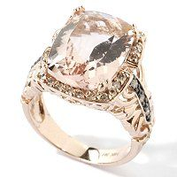 *~ Best Diamond Jewellery ~*: 14kt gold peach morganite and chocolate /white diamond ring