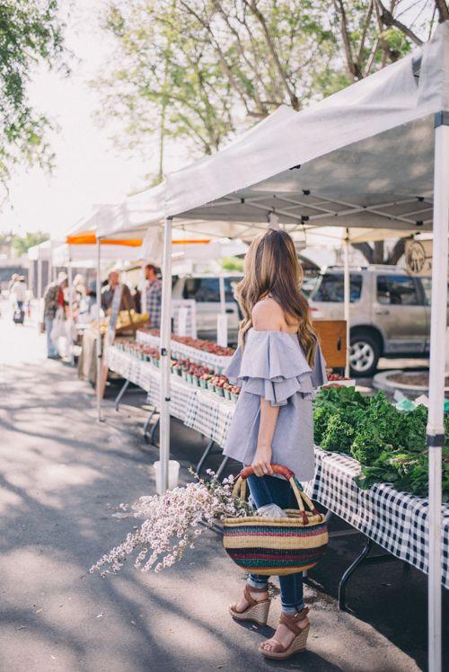 Gal Meets Glam Santa Barbara Farmer's Market - MLM Top, Joe's Jeans and Stuart Weitzman Wedges