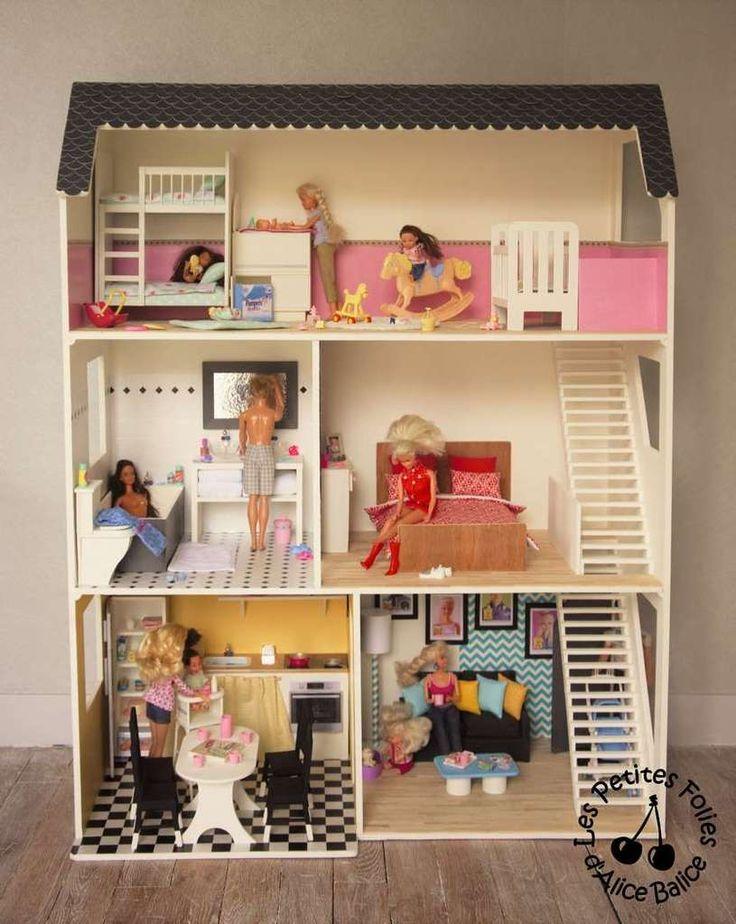Les 25 meilleures id es de la cat gorie maison de barbie sur pinterest diy - Fabriquer maison barbie ...