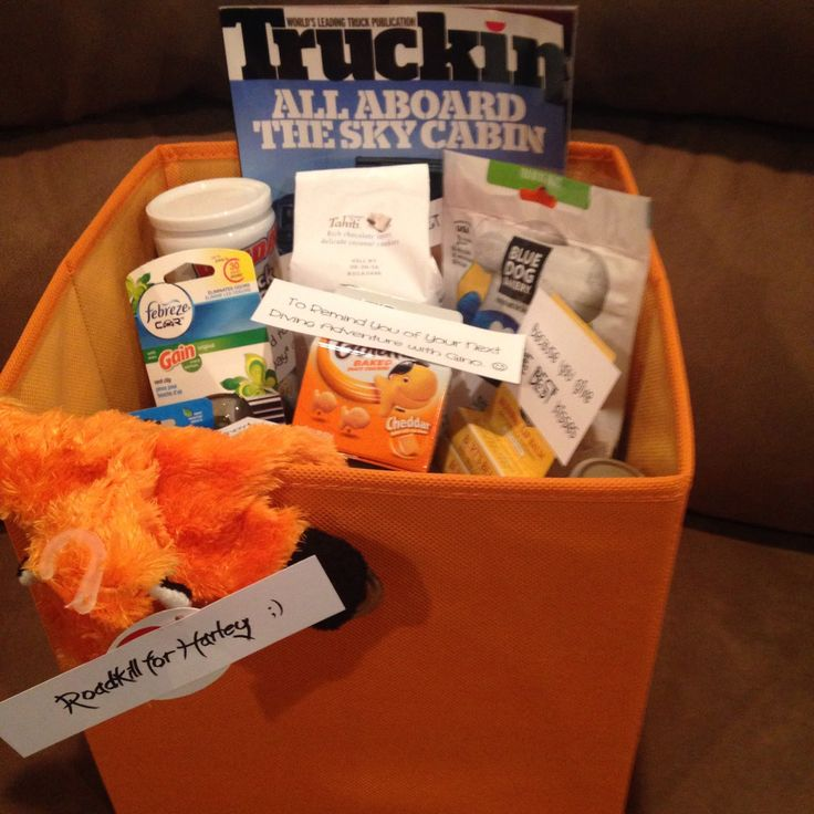 A few months ago, I put this gift together for my (then) truck driving boyfriend. I had SO much fun gathering items that could be used on t...
