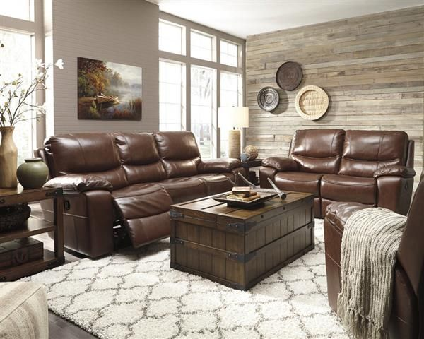 Penache Contemporary Saddle Faux Leather Living Room Set