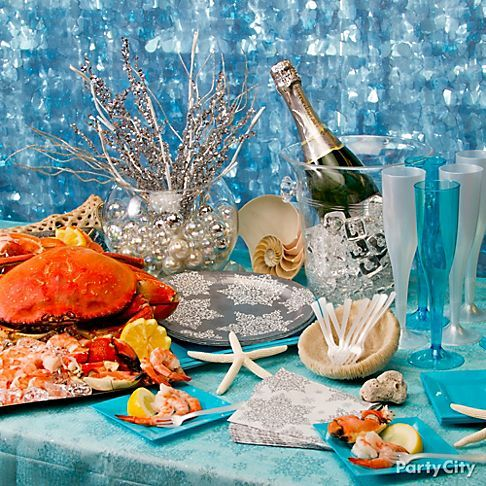 Lovely Pair Seafood U0026 Champagne With Ocean Inspired Decorations  Great For  Christmas Eve! Start