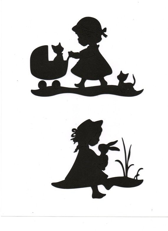 Set of 4 Little girl designs with stroller bunny and kitten Silhouettes die cut for scrap booking or card making