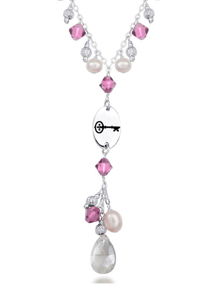 Kappa Kappa Gamma Symbol Pink Crystal and Freshwater Pearl Necklace