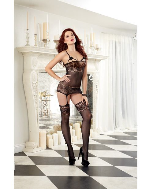 Sheer Garter Dress W/lace Design & Elastic Cup Strapping, Attched Garters & Thigh Highs Black O/s - PlanetSexShop