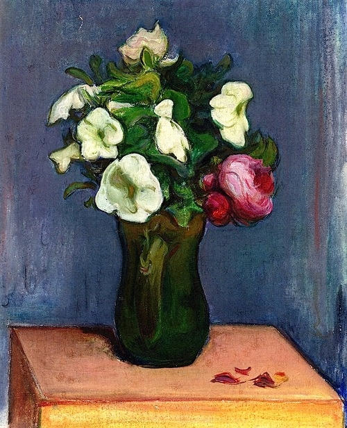 Pitcher of White Flowers and a Rose Wladyslaw Slewinski - 1904