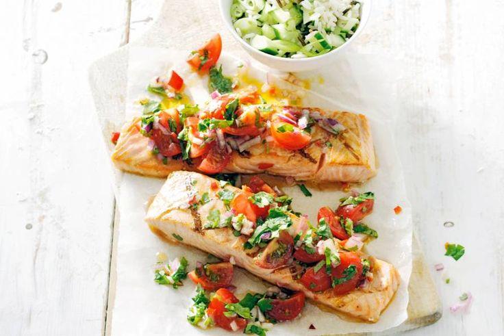30 maart - Cherrytomaten in de bonus - Houd je van een beetje hitte? De salsa is pittig, maar niet te. De rijst met limoensap en komkommer geeft verkoeling - Recept - Allerhande