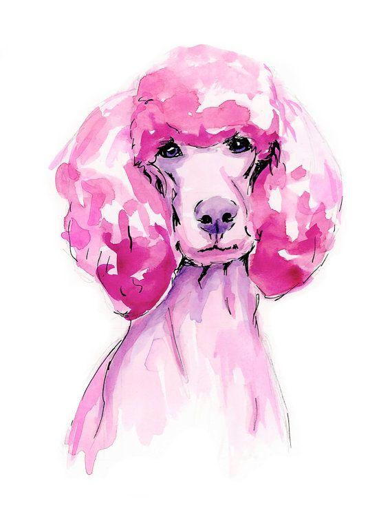 Pink Poodle Watercolor Print by KateGatteyArt on Etsy
