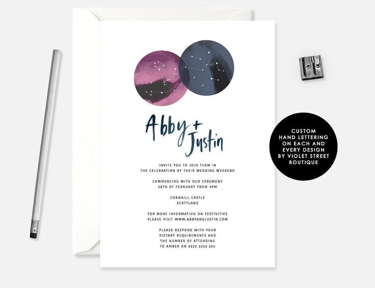 A little astrological loving for our star crossed lovers Abby and Justin! Personalise your invitation with your star sign  #violetstreetboutique #handlettering #calligraphy #weddingcalligraphy #customweddinginvitation #wedding #weddinginvitation #australianwedding #Melbourne #graphicdesign #typography #weddinginvite #weddingday #stationery #stationerylove #weddingstationery #weddinginspo #violetstreet #etsy #estyshop #etsymaker #onlineshop #digitaldownload #digitalinvite #PDF #pdfinvite…