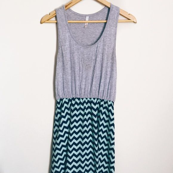 ⬇️PRICE DROP⬇️Chevron Dress This is a sky blue and navy blue chevron dress with a grey top. Super cute! Up close photo to show colors better. brand listed for exposure J. Crew Dresses