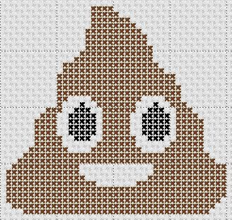Poop Emoji Counted Cross Stitch Pattern Mini Design