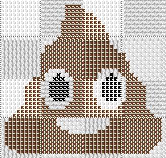 Poop Emoji Counted Cross Stitch Pattern Mini Design
