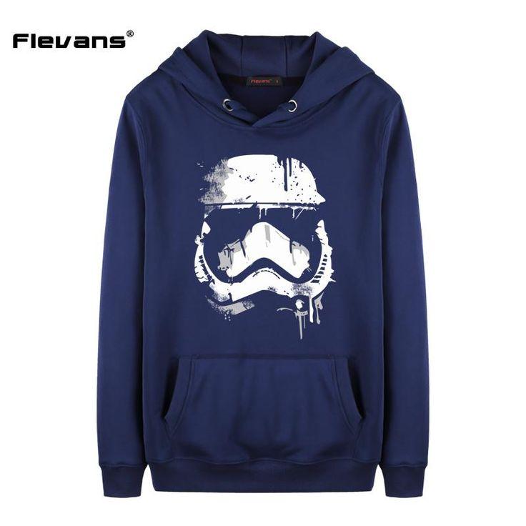 Flevans Hoodies Men Casual Sportswear Star Wars Stormtrooper Printed Mens Sweatshirts Hoodies with Hat Pocket
